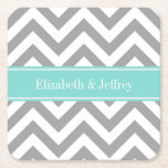 """Dk Gray White LG Chevron Turquoise Name Monogram Square Paper Coaster<br><div class=""""desc"""">Dark Gray and White Large Chevron Zig Zag Pattern, Turquoise Aqua Robin Egg Ribbon Name Monogram Label Customize this with your name, monogram or other text. You can also change fonts, adjust font sizes and font colors, move the text, add text fields, etc. Please note that this is a digitally...</div>"""