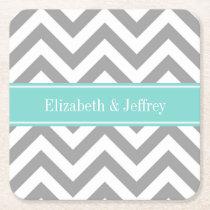 Dk Gray White LG Chevron Turquoise Name Monogram Square Paper Coaster