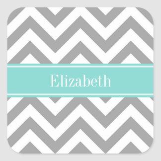 Dk Gray White LG Chevron Turquoise Name Monogram Square Sticker