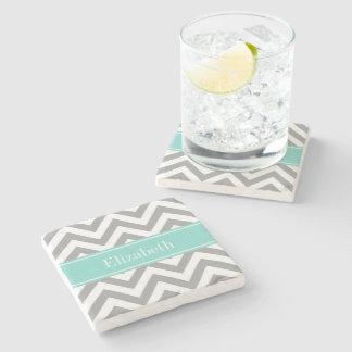 Dk Gray White LG Chevron Turquoise Name Monogram Stone Beverage Coaster