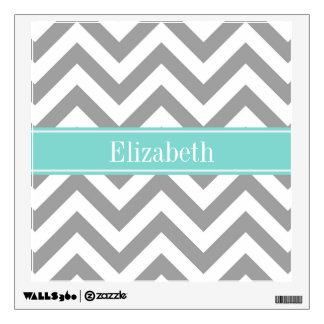 Dk Gray White LG Chevron Turquoise Name Monogram Wall Decal