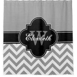 Dk Gray Wht LG Chevron Black 1ICBR Name Monogram Shower Curtain