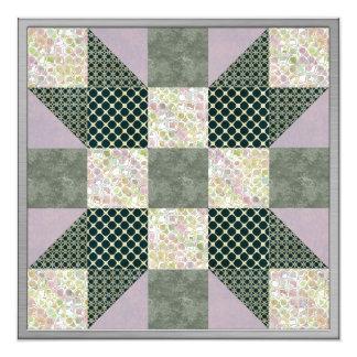 Dk Green & Lavender Star Patch Quilt Card