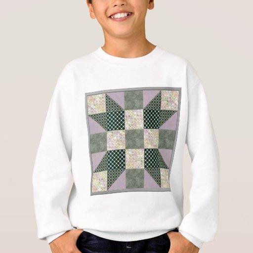 Dk Green & Lavender Star Patch Quilt Sweatshirt