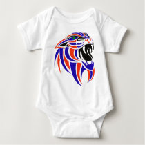 Dk Purple and Orange Tiger Head Baby Bodysuit