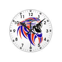Dk Purple and Orange Tiger Head Round Clock