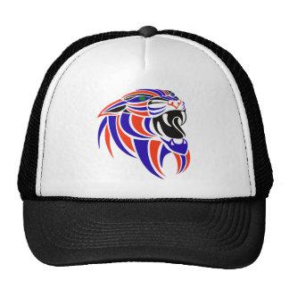 Dk Purple and Orange Tiger Head Trucker Hat