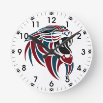 Dk Red and Dk Blue Tiger Head Round Clock