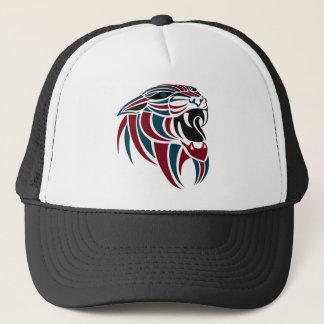 Dk Red and Dk Blue Tiger Head Trucker Hat