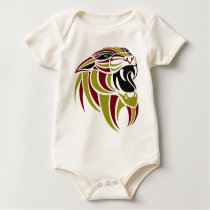 Dk Red and Gold Tiger Head Baby Bodysuit