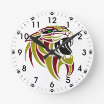 Dk Red and Gold Tiger Head Round Clock