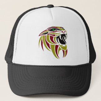 Dk Red and Gold Tiger Head Trucker Hat