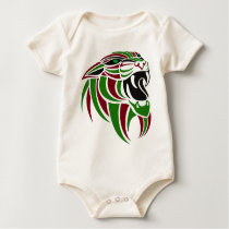 Dk Red and Green Tiger Head Baby Bodysuit