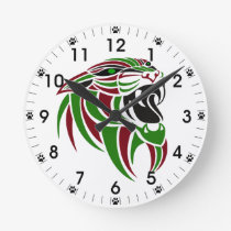 Dk Red and Green Tiger Head Round Clock