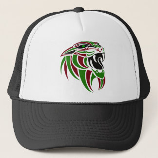 Dk Red and Green Tiger Head Trucker Hat