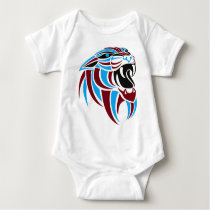 Dk Red and Lt Blue Tiger Head Baby Bodysuit