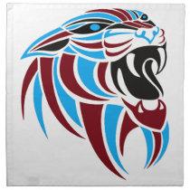 Dk Red and Lt Blue Tiger Head Cloth Napkin