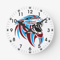 Dk Red and Lt Blue Tiger Head Round Clock