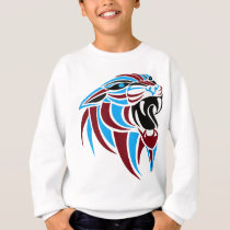 Dk Red and Lt Blue Tiger Head Sweatshirt