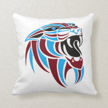 Dk Red and Lt Blue Tiger Head Throw Pillow
