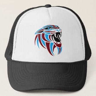 Dk Red and Lt Blue Tiger Head Trucker Hat