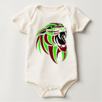 Dk Red and Lt Green Tiger Head Baby Bodysuit