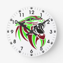 Dk Red and Lt Green Tiger Head Round Clock
