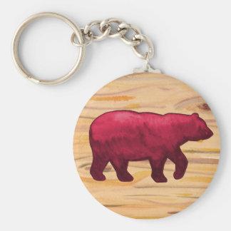 DK Red on Wood Bear Keychain