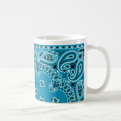 Dk Turquoise Paisley Western Bandana Scarf AddName Classic White Coffee Mug