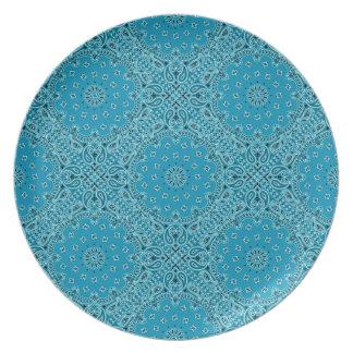 Dk Turquoise Paisley Western Bandana Scarf Fabric Melamine Plate