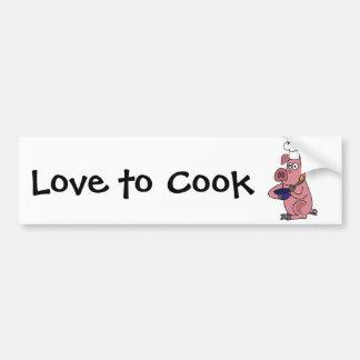 DL dibujo animado divertido del cocinero del cerdo Etiqueta De Parachoque