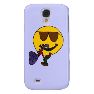 DL- Funny Smiley Face Playing Saxo Galaxy S4 Cover