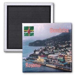 DM - Panorama de Dominica - de Roseau Imán Cuadrado