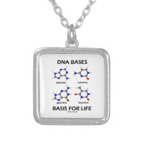 DNA Bases Basis For Life (Molecular Structure) Square Pendant Necklace