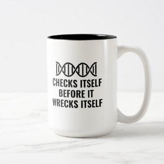 DNA Checks Itself Two-Tone Coffee Mug