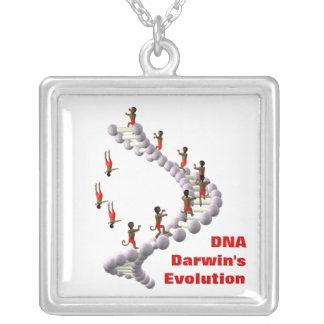 DNA Darwin's Evolution Square Pendant Necklace