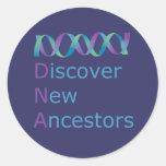 DNA Discover New Ancestors 1 Classic Round Sticker