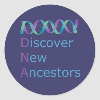 DNA Discover New Ancestors 1 Classic Round Sticker