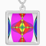 DNA - Fractal Art Silver Plated Necklace