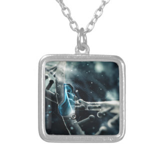 DNA Nano Abstract Silver Plated Necklace
