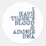 DNA Sheen de Adonis de la sangre del tigre Pegatina Redonda