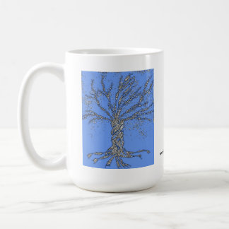 DNA TREE or Tree of Life Stylized Blue cup Coffee Mugs