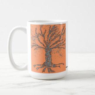 DNA TREE or Tree of Life Stylized orange mug