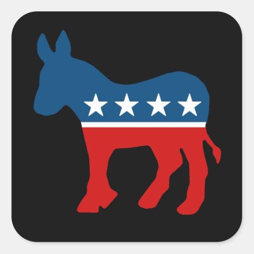 DNC - DEMOCRAT - DONKEY SQUARE STICKERS