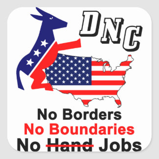 DNC: ¡Ningunas fronteras, ningunos límites, Pegatina Cuadrada