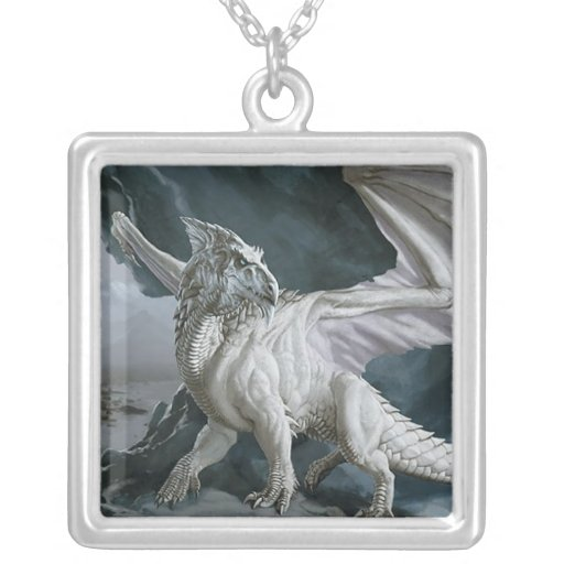 DnD Monsters the White Dragon Square Pendant Necklace