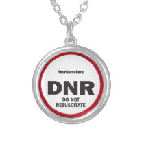 DNR Do Not Resuscitate medical tag Silver Plated Necklace