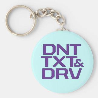 DNT TXT & DRV BASIC ROUND BUTTON KEYCHAIN