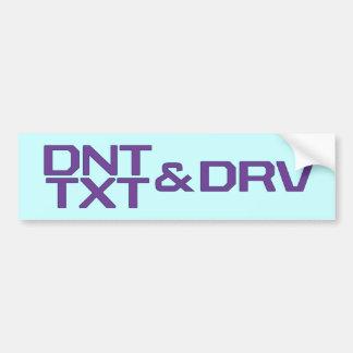 DNT TXT Y DRV ETIQUETA DE PARACHOQUE