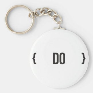 Do  - Bracketed - Black and White Basic Round Button Keychain